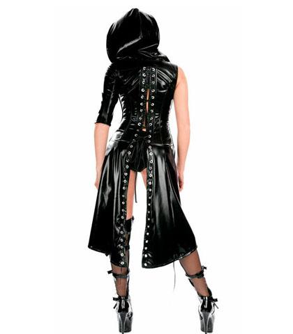 Crna vinil haljina sa kapuljacom